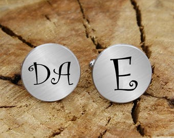 Monogram engraved cuff links, Personalized engraved, engraved cufflinks, custom personalized cufflinks tie clip, engraved wedding cufflinks
