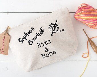 Personalised crochet project bag