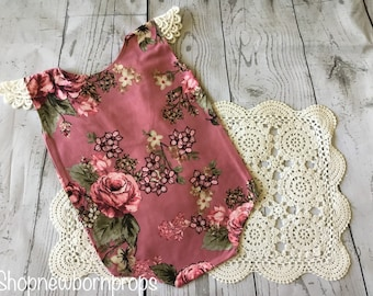 Floral Stretch Fabric Sitter Romper / Australian Seller / Lacey / Sitter Photography Prop