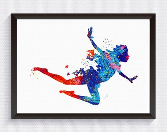 Nursery Decor, Peter Pan inspired, Watercolor Print, Watercolor Art, Kids Art, Disney Art, Disney Print, kids room decor, Blue red