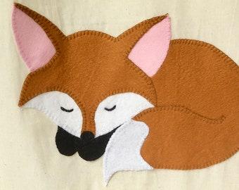 Sleeping fox canvas tote bag