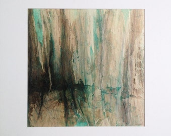Abstract art, original painting, forest landscape, ink, pigments and collage on canvas, abstract landscape.