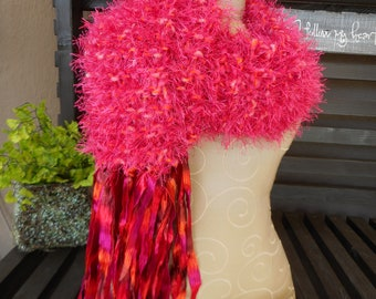 Hand Knit Scarf, Hot Pink, Hot Pink Scarf