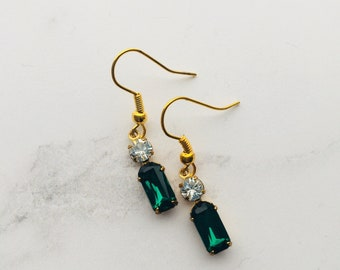 Dark emerald green octagon stones with Swarovski crystals - earrings!