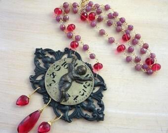 Pink sapphire & antique fob watch face statement necklace. alternative bride