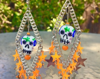 Sugar Skulls and STARS  Chandelier EARRINGs - DAY of the DEAD Jewelry