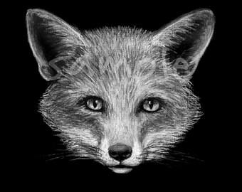 FOX Charcoal Drawing | Woodland Animal | Decor | Chalk | Chalkboard | Print | Black White | Neutral | Minimalist | Nursery | Gift | Wall Art