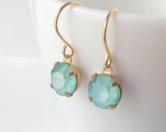 Mint crystal earrings - Swarovski crystal earrings - Bridesmaids earrings - Bridal jewelry - Gift - Everyday jewelry