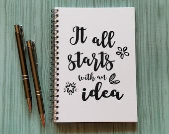 Writing Journal, Idea Journal, Idea Notebook, It all starts with an idea - 5 x 7 Journal, Notebook, Sketchbook, Scrapbook, Lightbulb