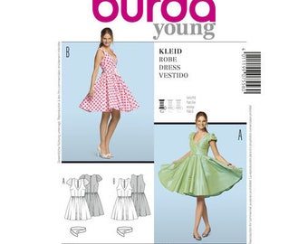 Misses Dress.  Burda young kleid robe dress vestido Sewing Pattern No. 7556.  Size 6 to 18.  Party dress with a flared circle skirt