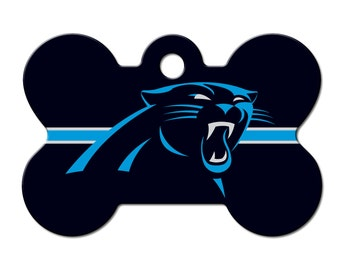 Carolina Panthers Licensed Bone Dog Tag - Engraved with your dog's information!