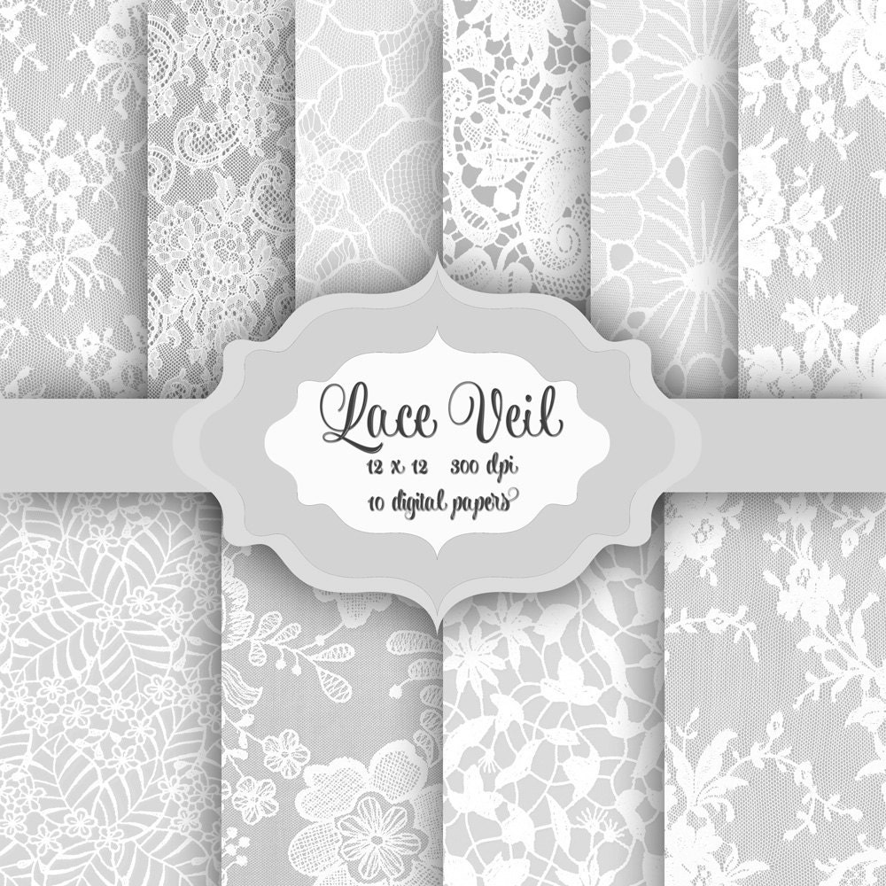 White LACE Digital Paper Pack -Vintage wedding bridal romantic lace ...