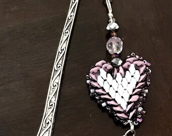 Two sided heart book marker