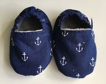 Soft soled shoes, baby slippers, baby shoes, pram shoes, crib shoes, prewalker shoes - 6-12 months, anchors