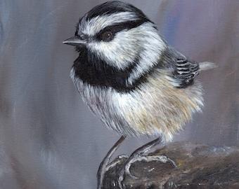 Bird Art Painting Wildlife Mountain Chickadee SFA Original hand painted acrylic bird painting by Australian Artist Janet M Graham