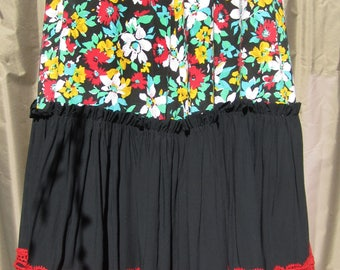"Flamenco skirt, black, white, yellow, red flowers, ruffles, 29"" waist, From Seville, practice, performance, adult or child, FREE earrings"