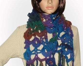 Rainbow Crochet Scarf, Multicolor Crochet Scarf, Crochet Lace Scarf, Women's multicolor OOAK Crochet Scarf