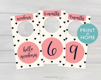 Printable Nursery Closet Dividers | 8 in set | PDF Instant Download | Baby Clothes Organizer Hanger Labels Hearts Navy Pink