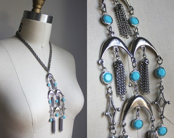 Water Bearer Silver and Teal Vintage Boho Pendant Necklace