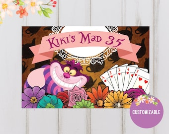 Printable Personalized paper placemat Alice in Wonderland theme