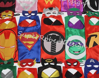 Party Pack 20set Superhero capes and masks - Ironman, Spiderman, Avengers - Birthday Party Favors - Birthday Gift - Birthday ideas