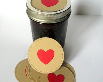 Canning Jar Toppers, Mason Jar Toppers, Heart Jar Toppers, Mason Jar Lids, Mason Jar Decoration, Heart Label, Heart, Valentines Day