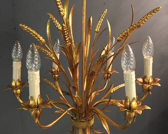 French 1950's Vintage Wheat sheaf Tole Light