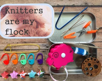 Knitting travel set: notions/stitch markers/embroidery scissors/sheep tape measure for your Sexy Knitter project bag