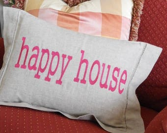 Happy House Pillow Linen Embroidered
