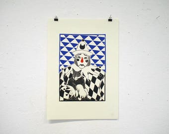 Pierrot Clown Linocut Print, original linocut print, original art, Blue, cat print