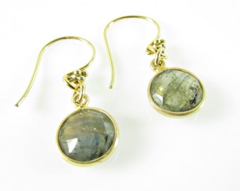 Labradorite Earrings, Genuine Gemstone, Delicate, Labradorite & Gold