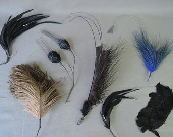 7  Vintage Millinery Feathers Hat Supplies, 6 to 13 inches long, Antique Edwardian Black  Brown, Blue Hat Feather Lot