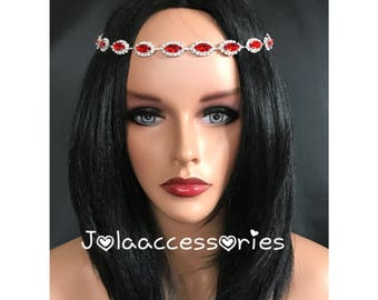 Ruby red forehead wedding hair jewellery jewelry hair chain  bridal headpiece  wedding hair headband bridal hair accessory back drape
