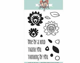 Neat & Tangled ~Paper Cut Flowerd~ Cling Stamp Set