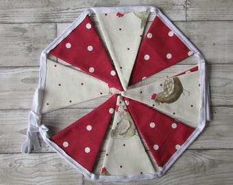 Chicken Dotty & Red Dotty Fabric Bunting, Party, Wedding, Fabric, Personalised ,Home Decor, Handmade,Home, Home and Garden, Free Postage