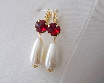 18th Century Reproduction Ruby Rhinestone and Pearl Drop Earrings. Siam Red Paste Glass. Rococo, Colonial, Regency, Victorian, 19th Century.
