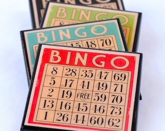 Bingo Card Drink Coaster Set, Retro Bingo Game Wood Coasters, Game Room Decor, Hostess Gift, Party Favor, Board Game Cards,