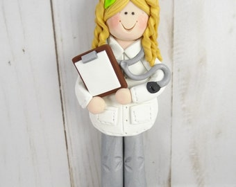 Female Doctor Christmas Ornament - Polymer Clay Doctor Ornament -633