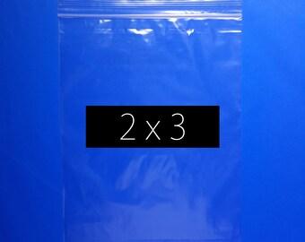 100 2x3 Inch Zip Lock Bag Recloseable Ziplock Plastic Bag Reuseable