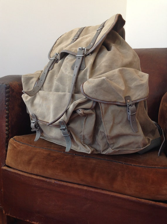 Vintage 1960s 60s French Lafuma La Fuma canvas hiking walking camping rucksack backpack metal frame bag
