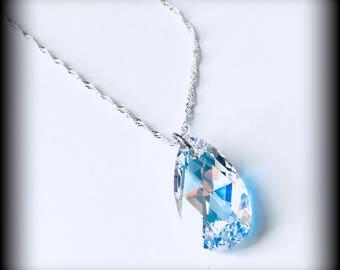 Fancy Cut Swarovski Pendant - Sterling Silver 925 Necklace