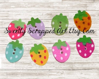 STRAWBERRY BUTTONS ... Craft Supplies / DIY / Scrapbooking / Cardmaking / Strawberries / Colorful / Cheerful / Embellishment / Summer / Cute