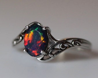 MIXED fire colors natural black fire opal ring, fire opal ring, silver black opal ring, filigree opal ring, genuine opal, opal ring
