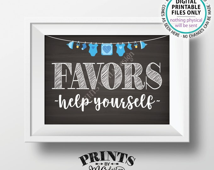 """Favors Sign, Help Yourself Baby Shower Favors, Shower Decorations, Thank You, Blue Clothesline, PRINTABLE 5x7"""" Chalkboard Style Sign <ID>"""