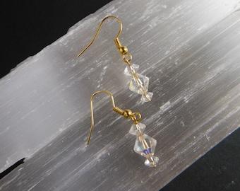 Drop Earrings, Crystal Glass Bead, Aurora Borealis, Vintage Beads, Handmade Earrings, Vintage Style,