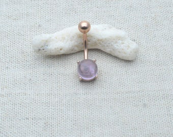 Amethyst belly button rings,rose gold belly ringy,navel ring,girlfriend gift