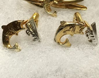 Swank Two Tone Fish and Lure Cuff Links and Tie Clip Silver Tone and Gold Tone Tie Clip is Hook Shaped