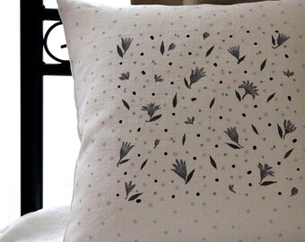 Off White Linen Pillow Cover with Gray and Black Handpainted Tiny Florals - bohemian bedding by Linenspace