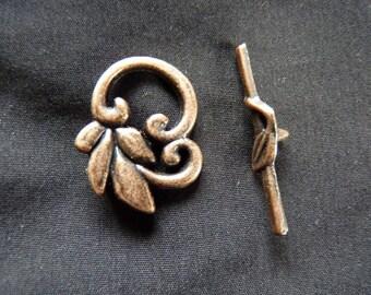 Copper toggle clasp antique metal