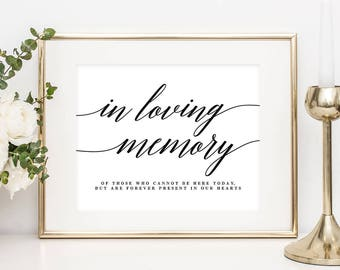 """Printable """"In Loving Memory"""" Sign with Editable Text Area - in 8x10 and 5x7 inches - Modern Script #MSC"""